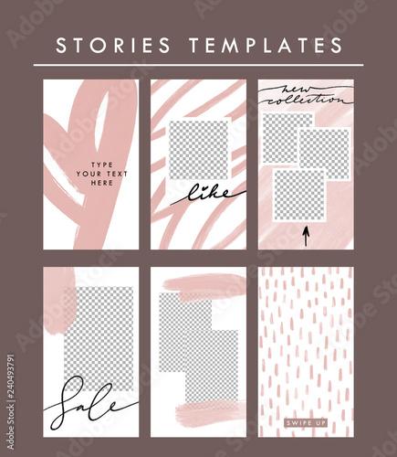 Vector stories templates set Minimalist social media story template