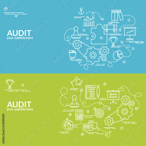 Flat colorful design concept for Audit Infographic idea of making