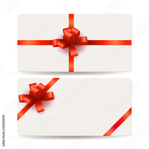 Blank gift cards template with red bows and ribbons\