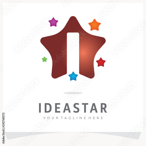 Letter I Logo Design with Colorful Star, Logo Design Template