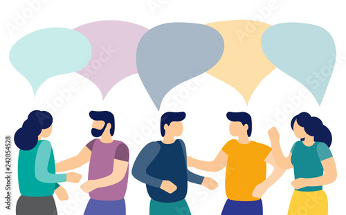 Men and women talk to each other with speech bubbles Business