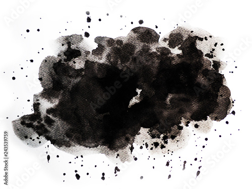 Abstract black watercolor on white background, abstract watercolor