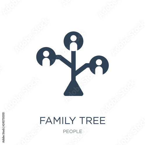 family tree icon vector on white background, family tree trendy