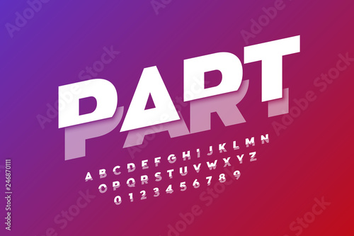Modern font design, sliced alphabet letters and numbers\