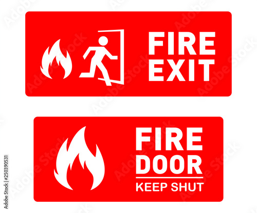 Fire Exit and Fire Door Safety Signs - Editable and Printable Vector