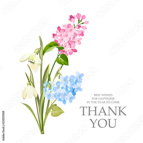 Thank you card with template sign and spring flower garland Lilac