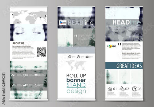 Roll up banner stands, flat design templates, geometric style