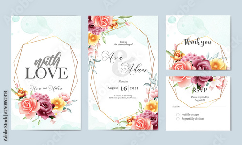 Floral watercolor wedding invitation template set\