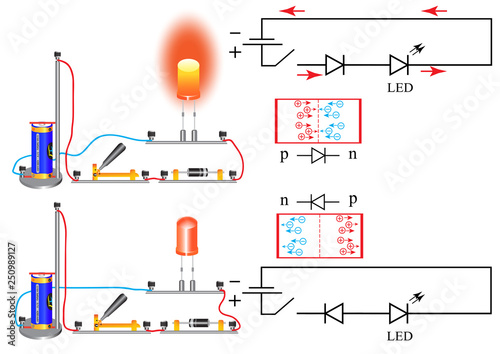 The wiring diagram in which there is a diode A diode is a