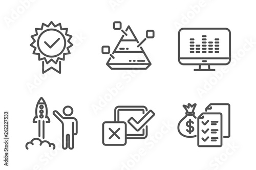 Certificate, Music making and Launch project icons simple set