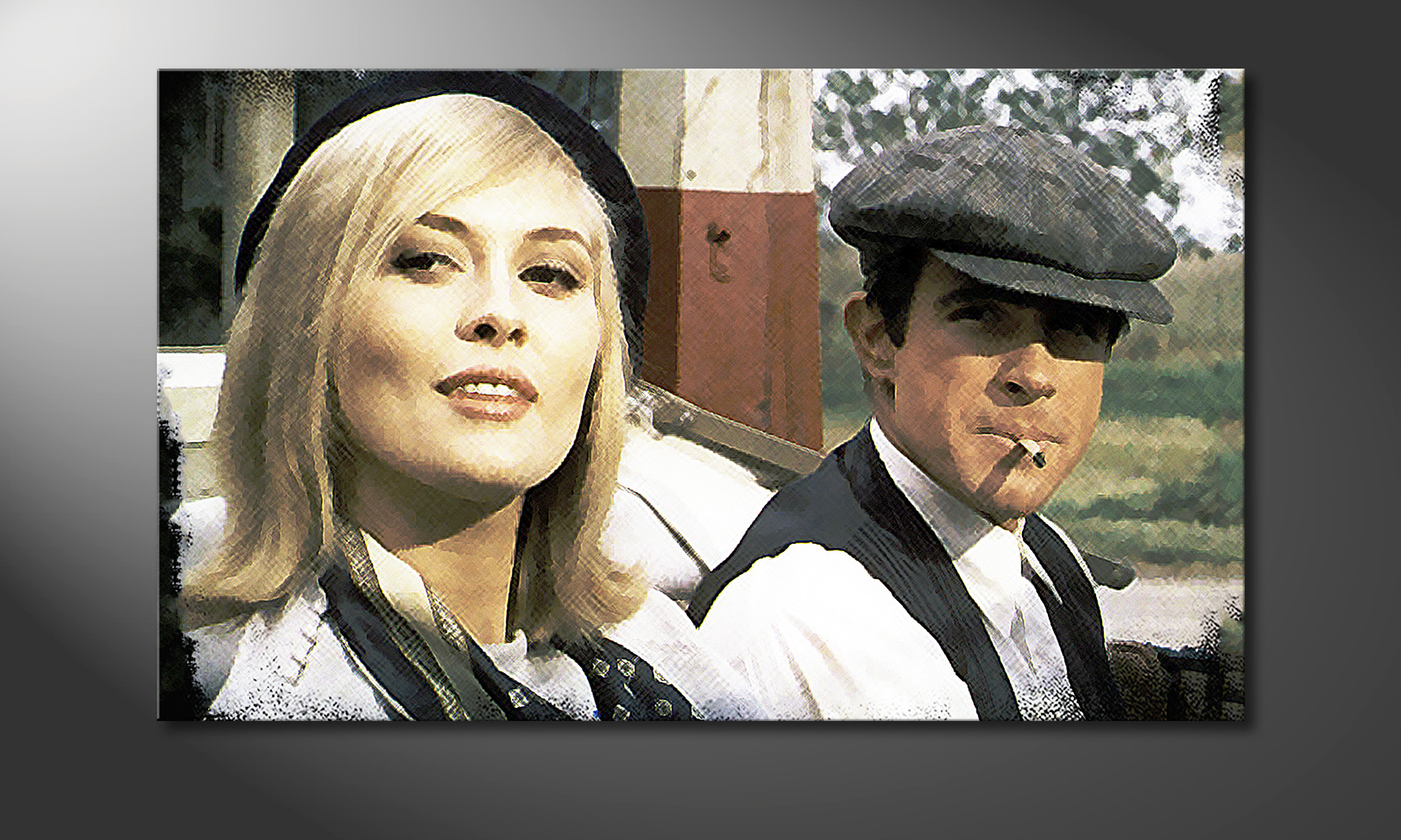 Reproduction Tableau Moderne Le Tableau Moderne Bonnie And Clyde 100x60cm - Tableaux-xxl