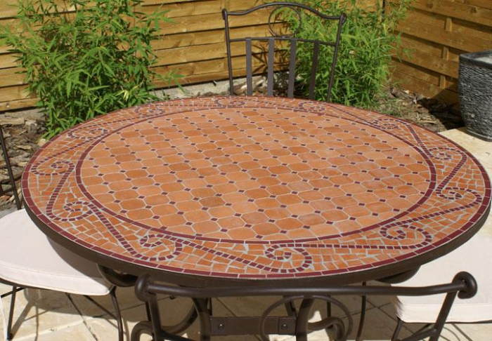 Table De Jardin Mosaique Ronde Table Jardin Mosaique Ronde 110cm Terre Cuite Arabesque