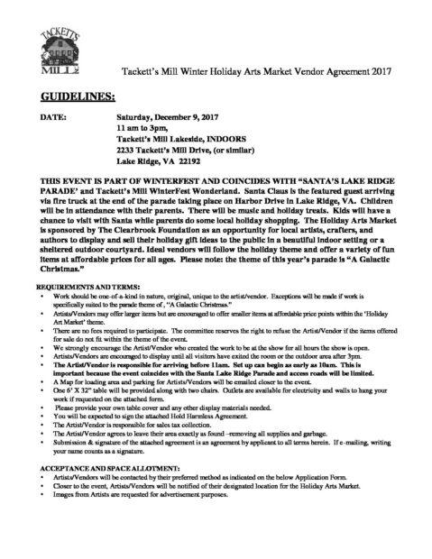 Holiday Arts Market 2017 Vendor Agreement Tackett\u0027s Mill
