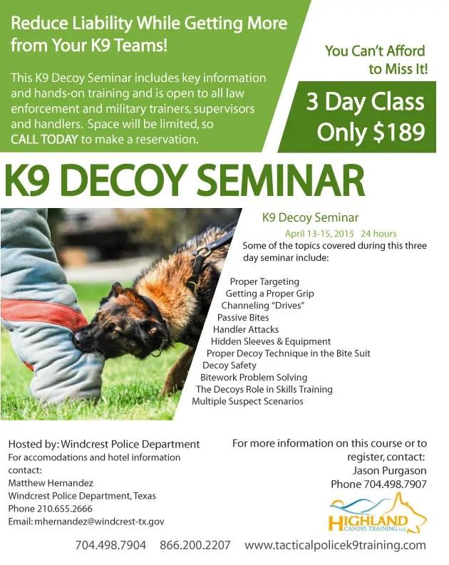 Decoy-Seminar-Flyer-Texas - Police  Military K9 Sales and - seminar flyer