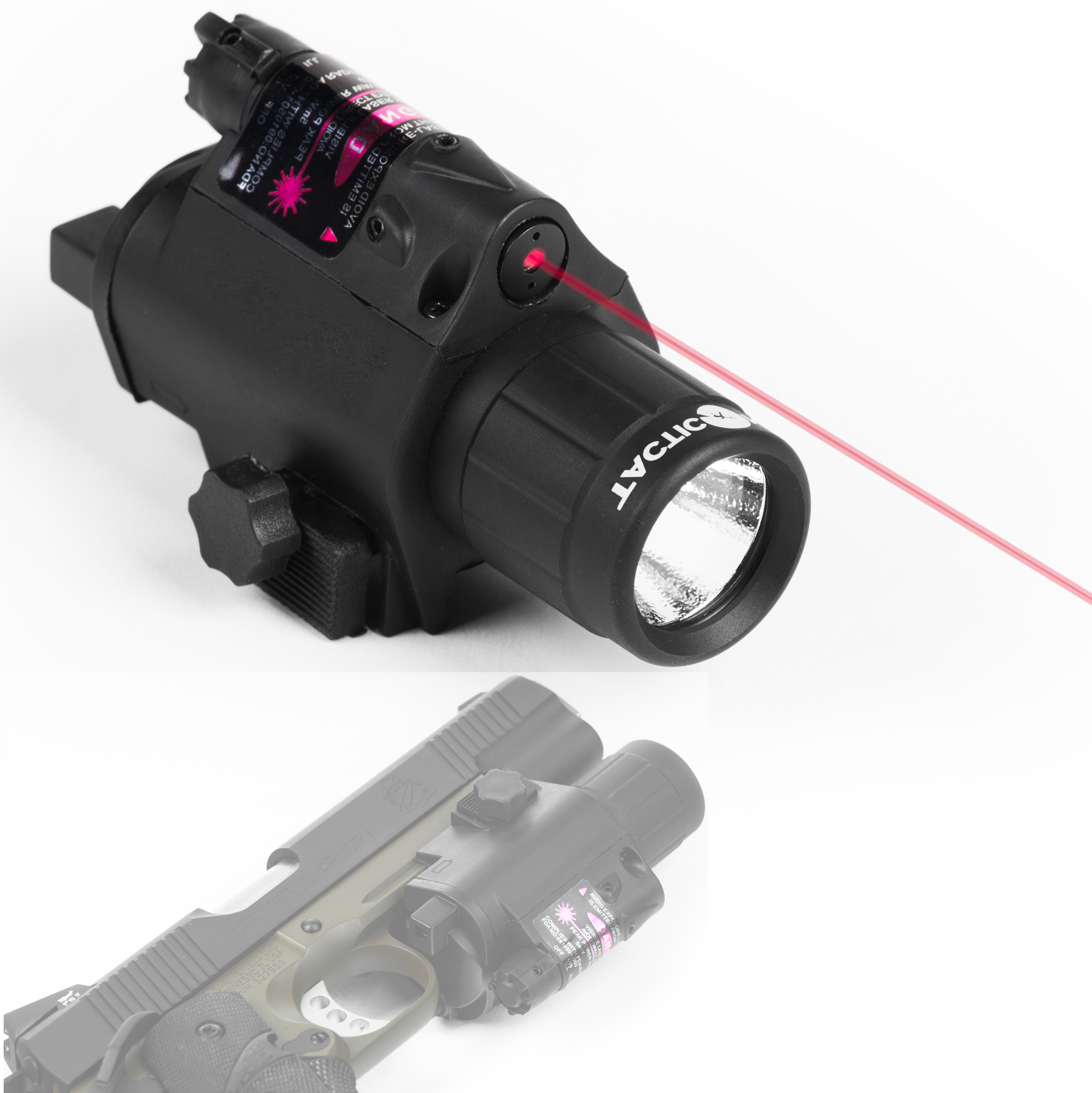 Flash Light Laser Flashlight Combo Red Or Green With Built In Rail Mount For Rifle Or Hand Gun