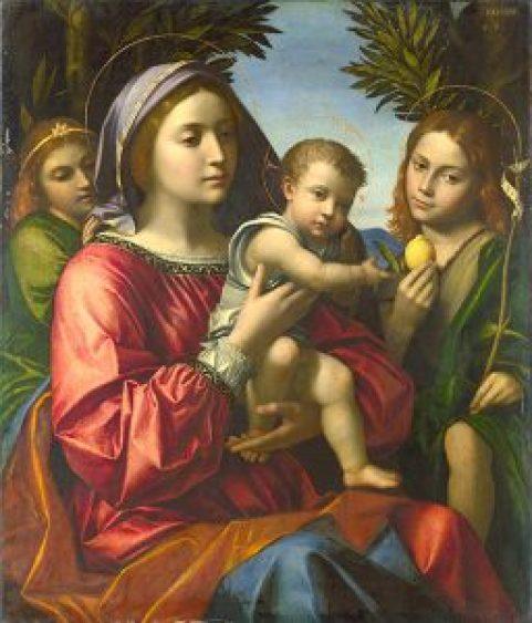 Paolo Morando, Die Jungfrau Maria mit Kind, dem heiligen Johannes und einem Engel