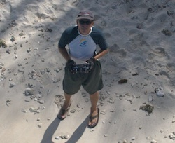 Frank Taylor from a kite on the beach of Petite Tabac