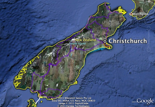 GE map of our road travels on the south island of New Zealand