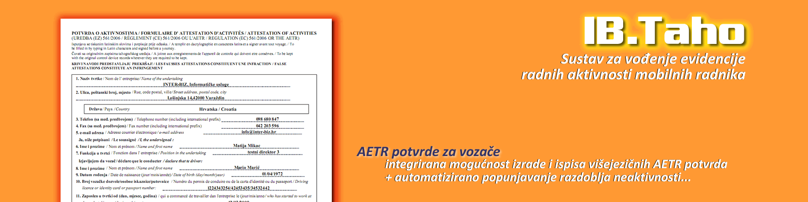 Potvrde o aktivnostima za vozače (AETR potvrda)