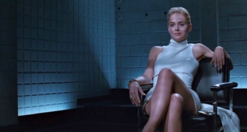 Sharon Stone spreads to legs for 'Basic Instinct'