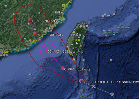 米軍の台風進路予想図