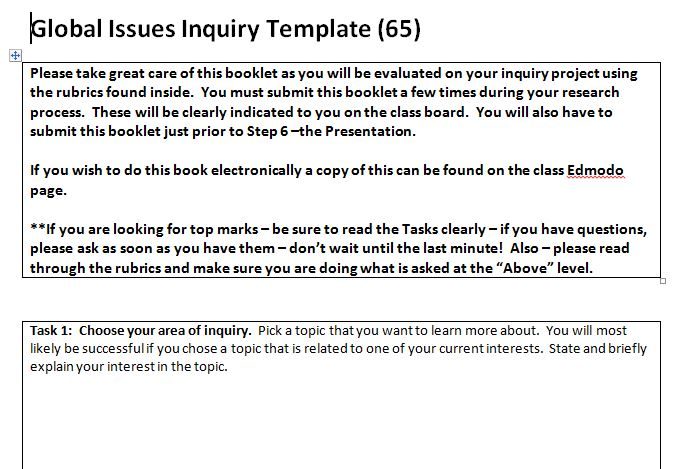 TOOL Global Issues Inquiry Template \u2013 TAKE ACTION