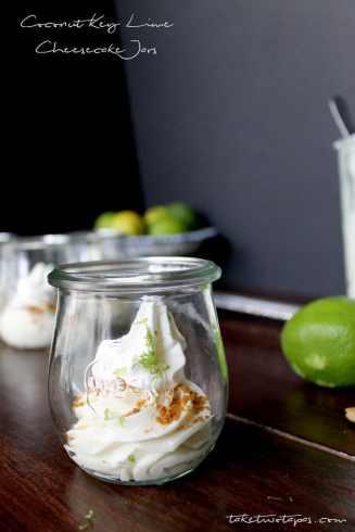 Coconut Key Lime Cheesecake Jars | taketwotapas.com