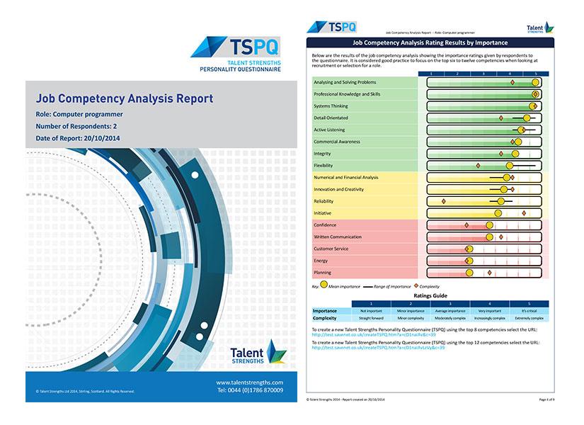 Job Competency Analysis - Talent Strengths - job analysis report