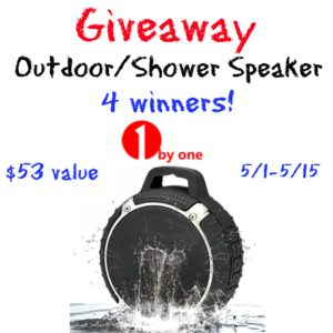 Outdoor/Shower Speaker Giveaway 05/15