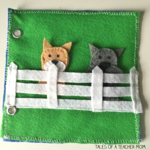 Dog finger puppet quiet book page