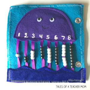 Jellyfish counting quiet book page