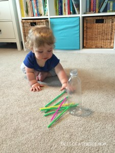 water bottle and straws