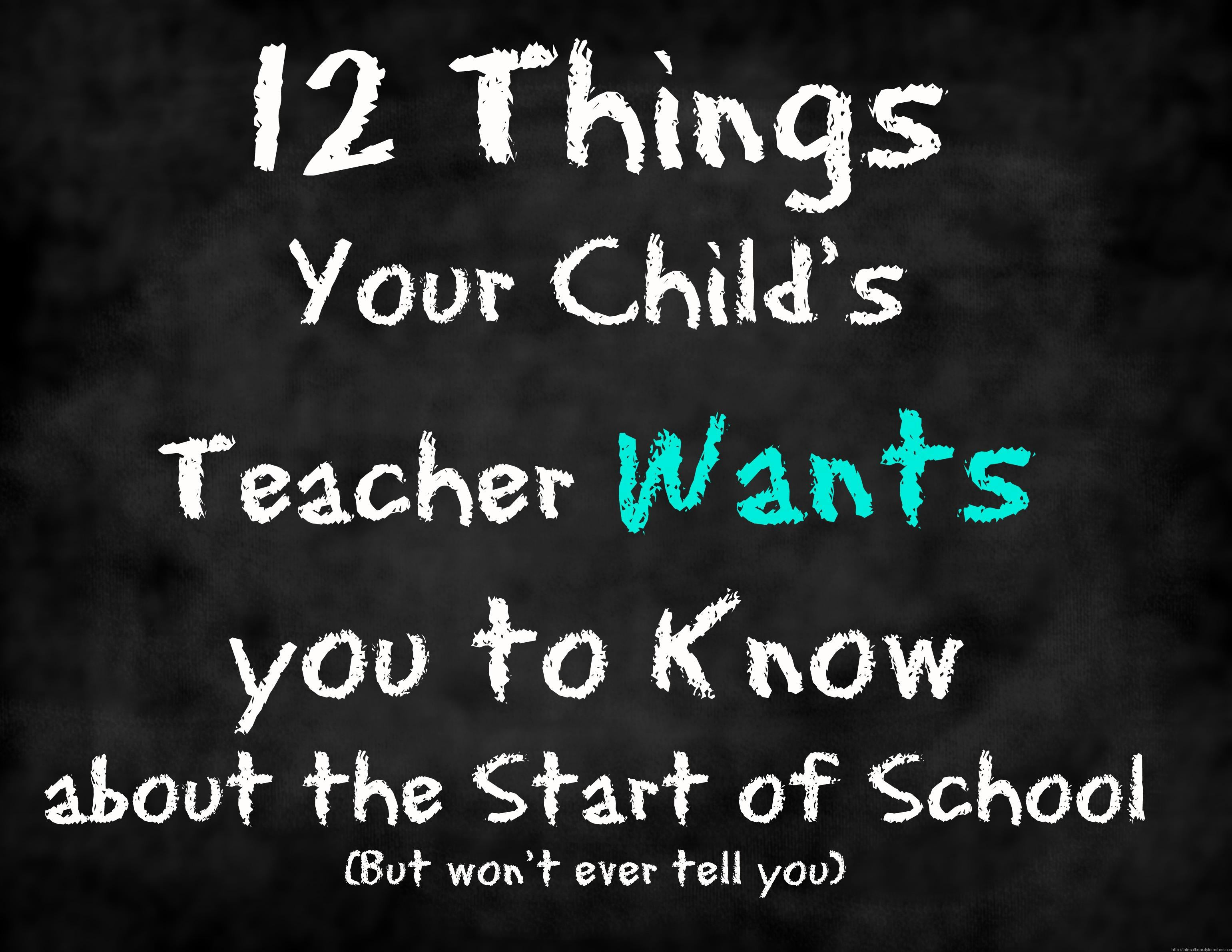 What your Child's Teacher Wants you to Know at the Beginning of the School Year