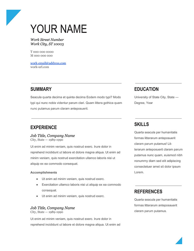 best cv template word download