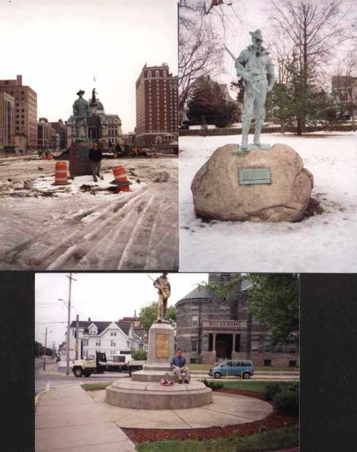 (top_ (l-r) Hiker statue in Providence and Pawtucket (bottom) in Woonsocket [Photos of and by David Kramer, late 1990s]
