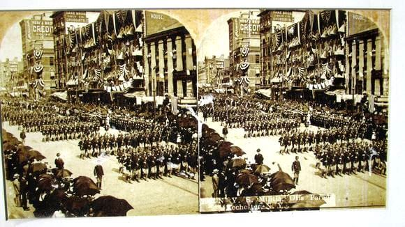 NYS Militia passing through the Otis Arch, June 15th, 1900