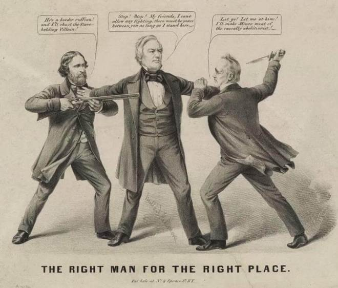 d A statesman-like Fillmore trying to keep the peace between agitated Democratic and Republican 1856 presidential candidates