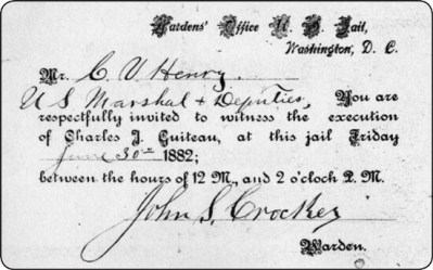 5 c Invitation to Guiteau's execution