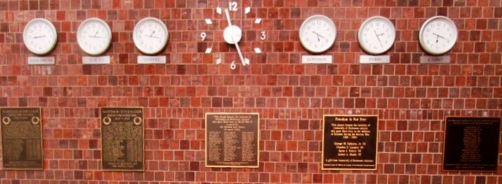 Plaques in Wilson Hall honoring the fallen of the University of Rochester, from the Civil War to the Vietnam War