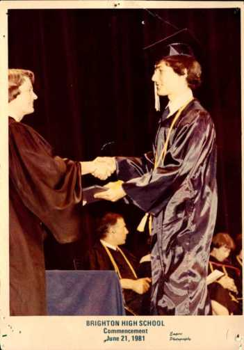 David Kramer, Brighton High School, Commencement, June 21, 1981 [Empire Photography] I graduate during the strike and three days before the completion of the 33 inning game.