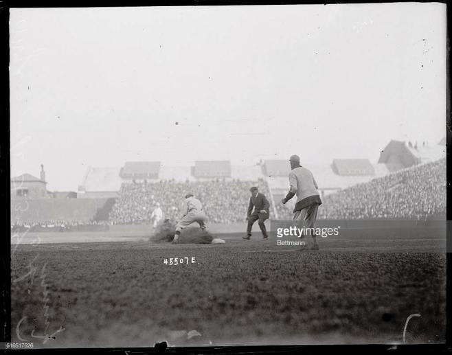 Hy Myers of the Brooklyn Dodgers is shown safe at third inning in this Brooklyn Dodgers versus Boston Red Sox game.