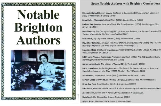"""Notable Brighton Authors"" from . (left) Shirley Jackson. The list of author is only partial. [Held at and scanned courtesy of the Brighton Memorial Library]"