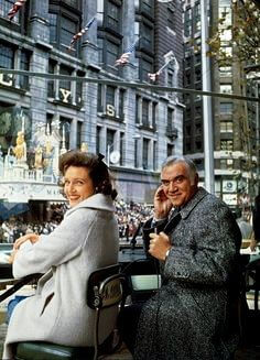 L to R: Lorne Greene, Betty White. Greene and White were the hosts of the parade between 1962 and 1971. (pinterest)