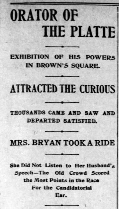 "Bryan made a short speech in Rochester on his way back to Nebraska following his ""Cross of Gold Speech"" at the Democratic National Convention in Madison Square Garden. Democrat and Chronicle, Aug 27, 1896"