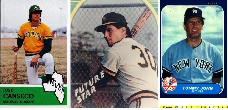(left) 1983 Madison Muskies Fritsch #13 Jose Canseco (Beckett Marketplace); (center) Madison Muskie Ozzie Canseco, brother of Jose Canseco, 1986 (BestSportsPhotos.com); Tommy John, 1986 Fleer. That year John pitched one rehab start for the Muskies [from David Kramer's collection, scanned courtesy of the Brighton Memorial Library]