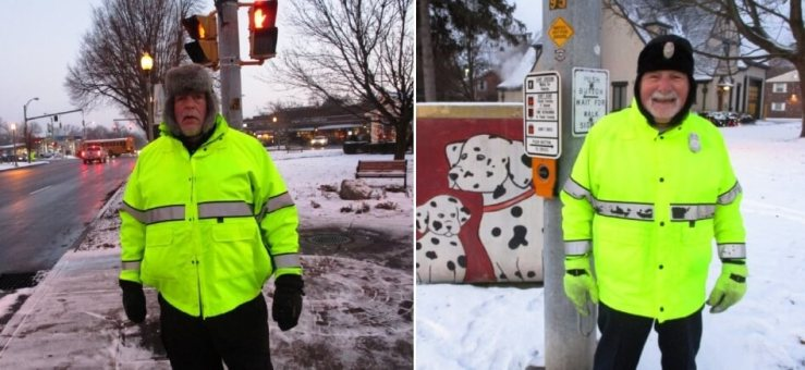 (left) Mike Cohen, 29 years as a crossing guard; (right) Tom Lyons, 5 years. His wife Mary has guarded for 30 years.