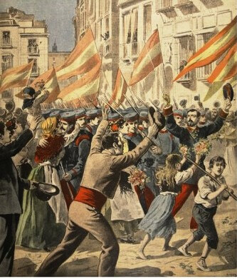 Cheering crowds in Madrid as Spanish soldiers leave for Cuba, illustration from 'Le Petit Journal: Supplement illustre', 18th May 1898
