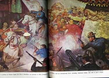 In 1900, a group of Chinese began the Boxer Rebellion--an attempt to foreigners out of China--and an international force, including 5,000 American troops, was sent to put it down [American Heritage Illustrated]