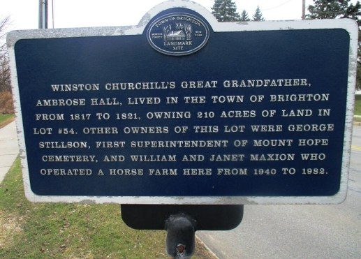 Plaque on Elmwood Avenue in Brighton describing the Churchill/Rochester connection [Photo: David Kramer 4/2/19]