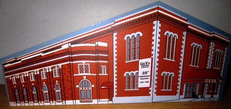 """Convention Hall is now the site of Geva. Gift from Lucian Waddell to Eugene and Carol Kramer. ceramic miniature: """"Geva Theatre, Rochester, New York, Performing at the Richard Pine Theatre, 25th Anniversary Season 1997 - 1998, Limited Edition"""""""